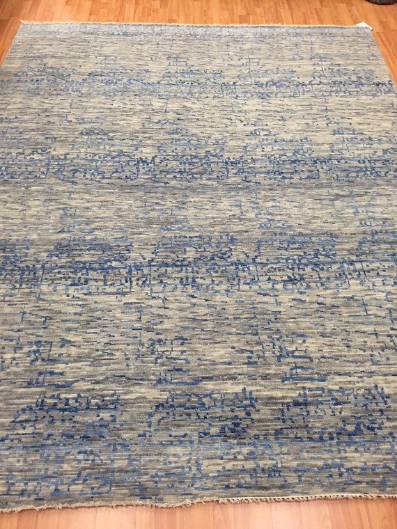 "8' x 9'9"" Soft Melody Indian Oriental Rug - Modern - Hand Made - 100% Wool"