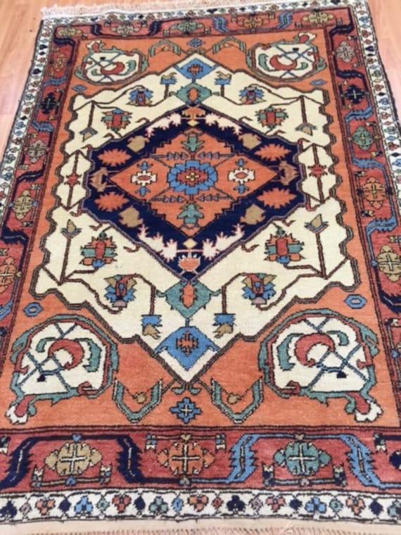 """3'10"""" x 5'6"""" Afghan Kazak Oriental Rug - Hand Made - 100% Wool - Vegetable Dye"""