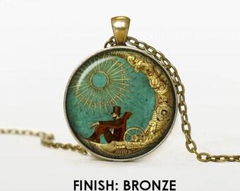 RETRO MOON illustration Necklace, moon Jewelry, moon gift for women handmade, silver bronze black Pendant chain moon jewelley020