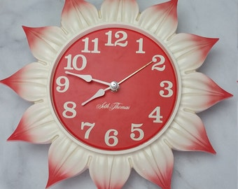 Vintage Seth Thomas Clock, Flower Clock, Kids Decor, Wall Clock, Electrcic