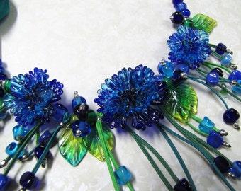 Cornflowers Necklace Blue necklaces on silk Lampwork necklace Necklace with flowers Blue necklace Cornflowers Blue flowers