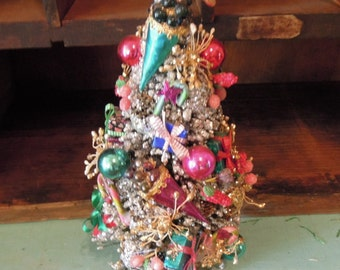 "Vintage Christmas Bottle Brush Tree / Mercury Beads & Small Ornaments / Red Doves Topper / Flocked Silver 9"" Wood Base"
