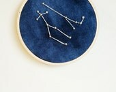 Gemini Wall Art. Astrological Sign. Nursery Art. Fiber Art. Zodiac Decor. Gemini Constellation Art. Gift for Her. Gift From Husband.