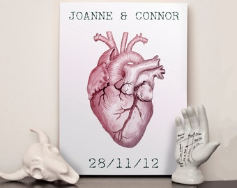 Personalised anniversary name and date print - Choose any size - Print or canvas - Anatomical Heart