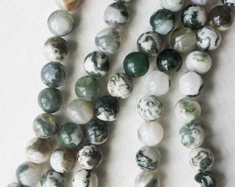 10mm Tree Agate, Natural Gemstone, Green White Beads, Round Beads, Large Beads, 10mm Gemstone,