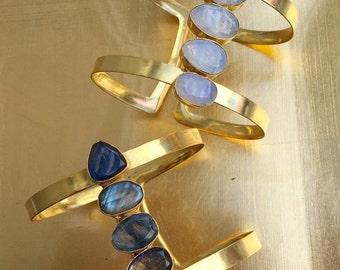 Cuff Bracelet, Moonstone Bracelet, Labradorite Bracelet, Gold Cuff, Raw Gemstone Bracelet, Dainty Gold Cuff, Natural Stone Bracelet, Boho
