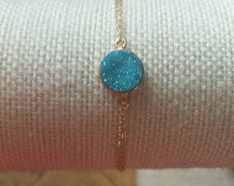 Natural Bright Blue Druzy and 14K Gold Filled Chain Bracelet