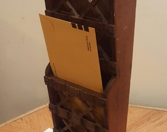 Vintage Wood Letter Holder Hanging Letter Holder Home and Living Made in Japan Hand Carved Brown Mail Holder Farmhouse Decor Rustic Home