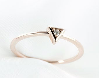 Dainty Ring with Rose Gold Plating, Triangle Solitaire Ring, Stackable Ring, Minimalist Jewelry, Sterling Silver Ring