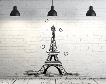 Eiffel Tower Wall Decal Vinyl Stickers Decals Art Home Decor Mural Vinyl Lettering Wall Decal Paris Silhouette France Bedroom Dorm ZX253