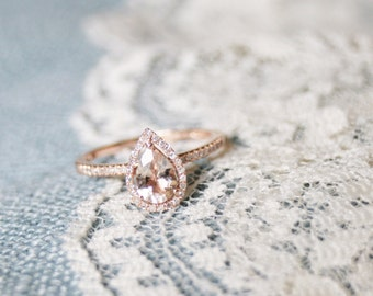 Diamond Halo Rose Gold Morganite Engagement Ring, Rose Gold Morganite Ring, Diamond Halo around Morganite