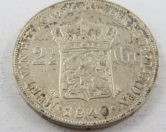 Netherlands 1940 Silver Two and a Half Gulden Coin.