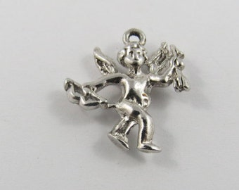 Cupid with Bow and Arrow Silver Charm of Pendant.