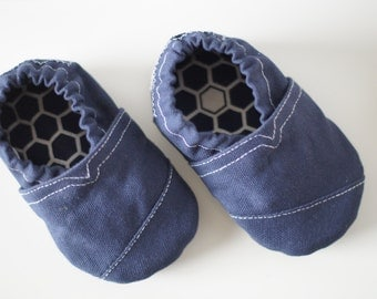 Navy Toms Inspired Soft Sole Baby Shoe