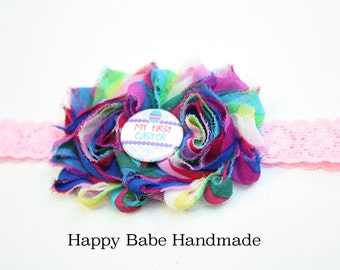 Easter Headband, Baby First Easter, First Easter Headband, Baby Headband, Rainbow Colors, Newborn Headband, Easter Photo Prop, Handmade