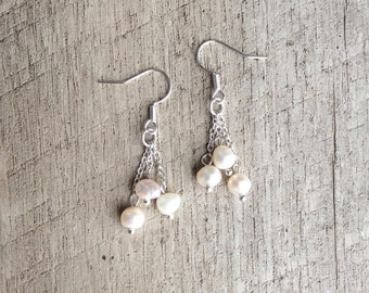 SALE Freshwater Pearl Cluster Earrings, Dangle Earrings, Pearl Earrings, Bridal Earrings, Rustic Modern Jewelry, Free Shipping U.S.