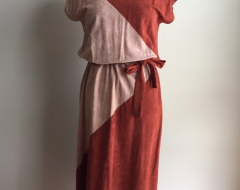 Vintage 1970s Rust and Tan Colorblock Belted Dress