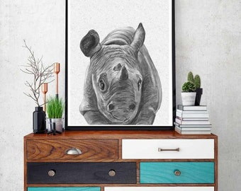 Unique Rhino Wall Art Related Items Etsy