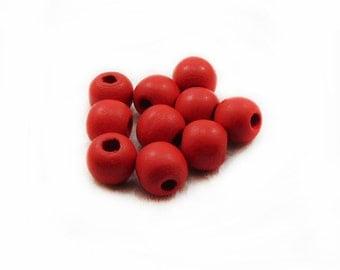 Red Wood Beads, 12mm Wood Beads, Red Wooden Beads, Round Beads, Wood Beads, Red Beads, Jewelry Making, Graft Supplies