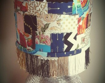 Boho lamp shade, Patchwork drum lamp shade with fringe: Boho, hippie, boho chic, eclectic