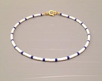 Nautical Bracelet Summer Bracelet white blue Beach Wedding jewelry