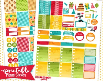 It's a Party | PRINTABLE Planner Stickers | Pdf, Jpg, Silhouette Studio V3 Format | ECLP Vertical Planner Stickers