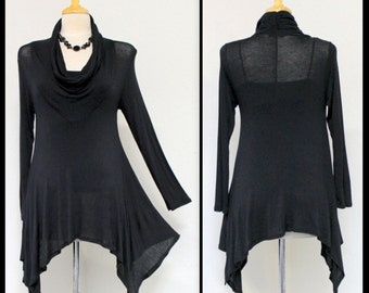Black Cowl Neck Traveler, Boho, Gypsy,Lagenlook Asymmetrical Designer Regular size top.