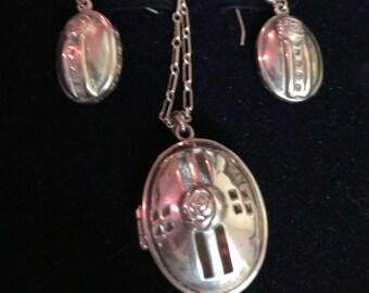 Sterling Silver unusual keepsake locket and earrings in the style of C.R.MacIntosh