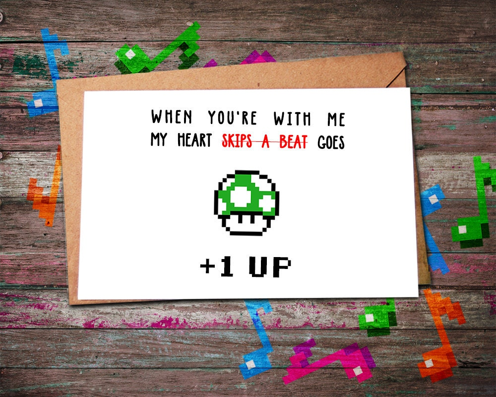 Video Game Cards 1UP Mario Mushroom Card Video Game Card – Mario Valentines Cards