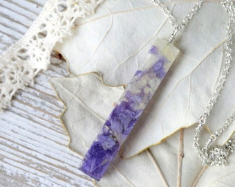 eco resin necklace Romantic pendant with a real flower rectangular strip resin Jewelry-terrarium necklace blue resin plant jewelry