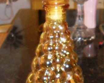 Genie Bottle-20th Century Design-Hobnail-Amber Glass-Italian Made-38.5 cm high.Fab!