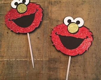 Glitter Elmo cupcake toppers