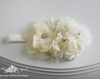 Vintage Antique White Baby Headband, Baby Girl Headband, Newborn Headband, Flower Girl Headband, Baby Photo Prop, Infant Headband