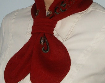 Women's Red Scarf, Women's Neckwarmer, Upcycled Sweater Scarf, Women's Scarves, Red Neckwarmer