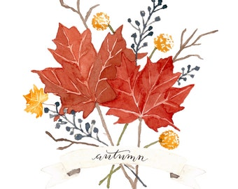 Watercolor Autumn Leaves   Hand Lettered Digital Download