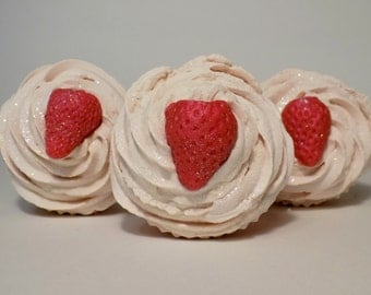 Strawberry Rhubarb Scented Soap Cupcake / Handmade Soap / Artisan Soap / Cold Process Soap / Soap Cupcake / Strawberry / Handcrafted