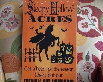 "Wood sign Welcome to Sleepy Hollow Acres Halloween 12"" x24"" headless horseman wall decoration halloween wall decor halloween decorations"