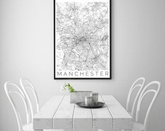 Map of Manchester - Map ART - Manchester United Poster  - Office Decor - Manchester Travel Poster - City of Manchester - Travel Decor