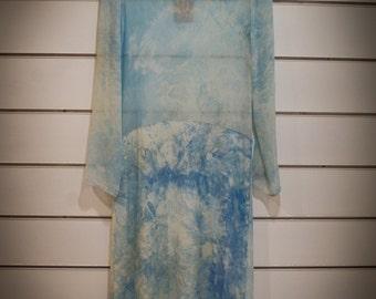 Long, blue, 100% silk dress / T38...