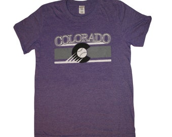 Colorado Rockies baseball shirt - Colorado Flag shirt - Purple
