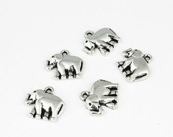 Antique Silver Elephant Charms - 5 Pieces