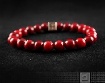 Coral Bracelet, Mens Beaded Bracelet, Womens Beaded Bracelet, Mens Coral Beaded Bracelet, Woman Coral Bracelet, Beaded Bracelet