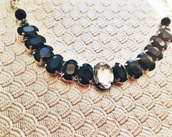 Black Crystal Statement Necklace, Black Statement, Rhinestone Necklace, Black Bib Necklace, Black Tie Necklace, Black and White Necklace