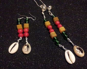 4 pc hair jewelery and earring set in Rasta colours