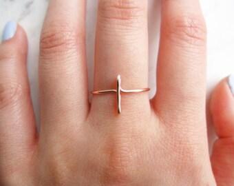 Rose Gold Cross Ring//sideways cross ring, rose gold sideways cross ring, side cross, wire ring, adjustable ring,Dainty ring,Minimalist,Gift