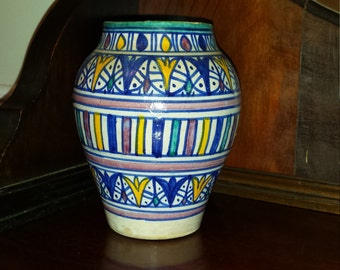 Vintage Moroccan FES Pottery Vase 5.5 inches blue, yellow red, green