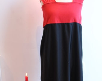 Red/black coour block high waisted dress