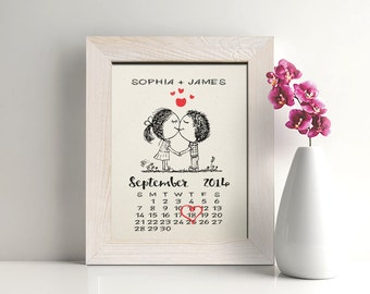 2nd anniversary cotton gift, Cotton Anniversary Gift for Her, 2 Year Anniversary Gift, Cute Calendar - CA0102