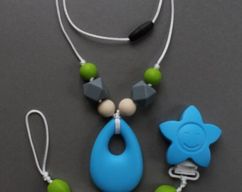 LUKA - Necklace and clip - Kit sucks chew TOUPIDOU silicone teething