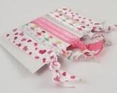 Ballerina hair ties, hearts hair ties, pretty girls patterned hair elastics, pink girls hair ties